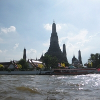 The temple of dawn , Wat Arun from the the river view.  www.chiangmaitourcenter.com