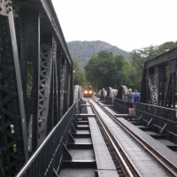 The iron bridge rail road over the river Kwae from the 2nd World War. www.chiangmaitourcenter.com