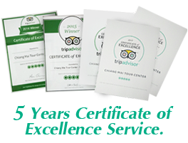 Tripadvisor 5 Years Certificate of Excellence Service.